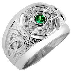 Irish Jewelry :: Irish Rings :: Celtic Ring - Men's White Gold Celtic Ring with Emerald -