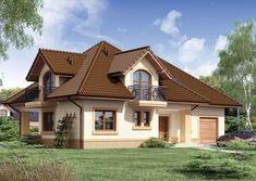 Projekat kuće sa potkrovljem i garažom – Minor Mansions, House Styles, Home Decor, Belle, Houses, Flowers, Decoration Home, Room Decor, Fancy Houses