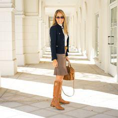 Riding boots, flounce pencil skirt