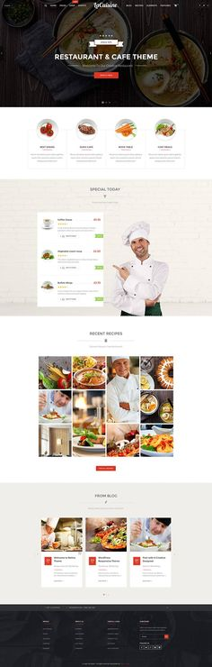 LaCuisine is a beautiful and capable, modern and ambitious, visually impressive and responsive WordPress restaurant, cafe and bakery website theme.