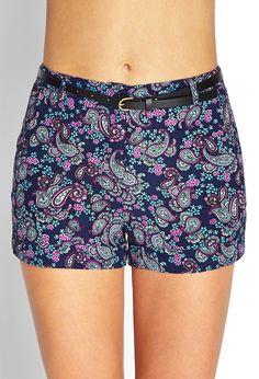 Paisley Print Woven Shorts - Shorts - 2000122604 - Forever 21 UK