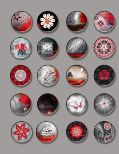 Black White And Red Circles- Floral and Landscape Images- INSTANT DOWNLOAD-  Collage Sheet - 1 Inch Circles for Glass Pendants, Magnets
