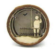Boy on swing - telescope brooch - Art jewellery  £42.00