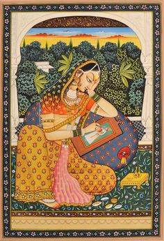 "Such fine details. I would never get tired of looking at it. ""The Young Princess Absorbed in Portraying Her Lord"".brings a touch of India into the home for sure. Rajasthani Miniature Paintings, Rajasthani Painting, Rajasthani Art, Pichwai Paintings, Mughal Paintings, Indian Art Paintings, Indian Artwork, Madhubani Art, Madhubani Painting"