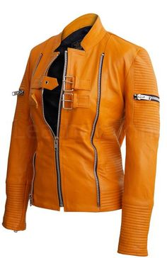 Women Mustard Yellow Sheep Skin Rib Quilted Genuine Leather Jacket Frauen Senfgelb Schaffell Rippe G Leather Jacket Outfits, Leather Jackets, Sheepskin Jacket, Outfits Hombre, Leather Skin, Yellow Leather, Look Cool, Mustard Yellow, Cool Outfits