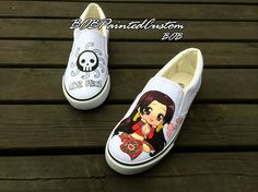 Cartoon Slip On Vans Shoes Anime Custom Design by BoBPaintedCustom