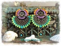 Indie BOHO earrings Yoga Lotus Macrame Bikini jewelry by GPyoga