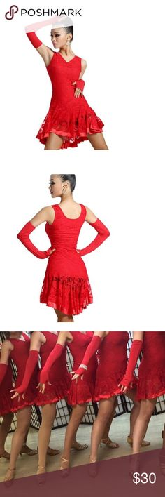 Red Latin dance costume Includes bloomers and gloves. Size Xl but fits like a medium. Salsa, bachata, chia cha dance costume. Dresses Mini