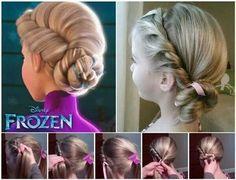 Frozen inspired flower girl hairstyle