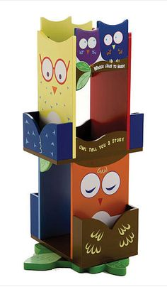 Our Levels of Discovery Owls Revolving Bookcase is made of wood, has a colorful wise owl design and revolves for easy access. The Levels of Discovery Owls Revolving Bookcase is great for book storage in boys and girls bedrooms and playrooms. Revolving Bookcase, Book Racks, Bookshelves Kids, Book Storage, Kids Storage, Book Shelves, Extra Storage, Storage Ideas, Wise Owl