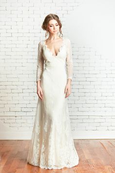 Slim A-line Lace Long Sleeved Country Wedding Dress