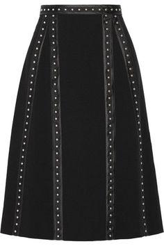 Altuzarra - Steele Studded Satin-trimmed Crepe Skirt - Black - FR36