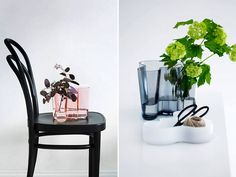 Very pretty and delicate styling featuring one of my favourite Scandinavian design icons. Nordic Design, Scandinavian Design, Holding Flowers, Icecream Bar, Closer To Nature, Floral Bouquets, Living Room Interior, Jewelry Organization, Flower Vases