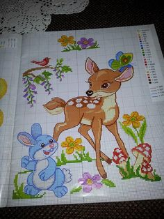 a Cross Stitch Baby Blanket, Baby Cross Stitch Patterns, Cross Stitch Bird, Cross Stitch Designs, Cross Stitching, Baby Embroidery, Cross Stitch Embroidery, Embroidery Patterns, Disney Stitch