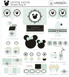 Romantic Vintage Minnie Mouse Printable Party Complete Set in mint green or blush pink. $20.00, via Etsy.