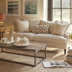 Light and bright living room Neutral furniture pops of color