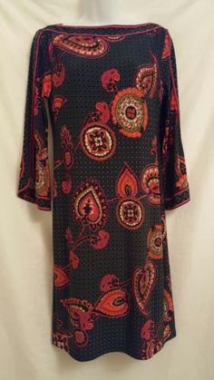 dc8e349e244c Trina Turk Shift Dress Medium 3 4 Split Sleeve Lined Paisley Green Black
