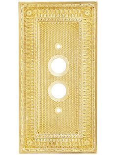 Pisano Single Gang Push Button Switch Plate In Unlacquered Brass | House of Antique Hardware