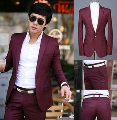 Men Premium Slim Fit One Button Dress Casual Stylish Suit Top Pants Burgundy | eBay
