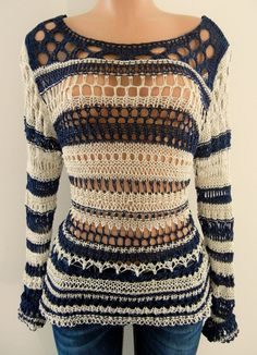 e82194705a6 New M Fashion Sexy Crochet Knit Top Navy Blue   Beige Size Medium  MFashion