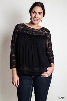 Lace Peasant Top ( Plus Size)