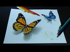 How to paint 3D Butterfly. Blue Butterflies Acrylic Painting Tutorial Step by Step - YouTube