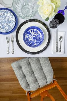 Simple Navy and Black Table Setting Featuring our Brisbane Tweed Silver Grey Dining Chair Cushions with Ties. Our Brisbane line features tweed fabrics in a variety or decorator colors. Silver Grey chair cushions work for all decors and add comfort to any contemporary, transitional, or modern dining room.  Our chair pads are made in the USA by Barnett Home Decor and latex foam filled so they will not go flat. Gray Dining Chairs, Dining Chair Cushions, Dining Room, Metallic Yarn, Black Table, Tweed Fabric, Grey Chair, Outdoor Fabric, Fabric Decor