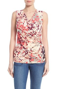 NIC+ZOE 'Petals' Print Faux Wrap Top available at #Nordstrom