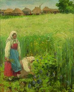Country Girls by Nikolay Bogdanov-Belsky. Impressionism. genre painting