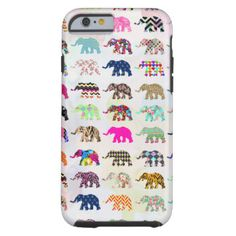 Whimsical Elephant Floral Aztec Chevron Patterns Tough iPhone 6 Case