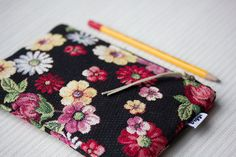 Upholstery fabric pencil case tapestry passport by ViggiHandmade