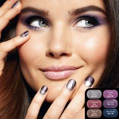 This fall the latest nail trend is all about crisp colors and cool textures. We love this look featuring our Suede Nail Enamel in Soft Velvet & Platinum Beauty. (Avon Products, Inc. Avon Nail Polish, Avon Nails, La Nails, Short Nail Designs, Simple Nail Designs, Beauty Nail, Lots Of Makeup, Gray Eyes, Fabulous Nails