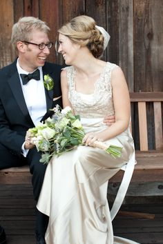 Abbie in her gorgeous gown - champagne satin and lace