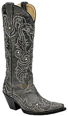 fe42f08fa Womens Distressed Black/Grey Studded Snip Toe Corral Boots Cowboy Boots  Women, Black Cowboy
