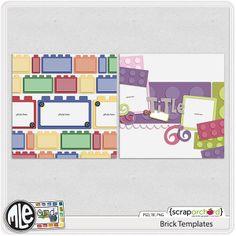 brick themed Digital Scrapbook Templates by mle Card.