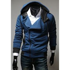 $20.92 Street Style Side Zipper Long Sleeves Polyester Hoodies For Men