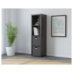 IKEA - KALLAX, Shelf unit, black-brown, , Choose whether you want to place it vertically or horizontally to use it as a shelf or sideboard. Etagere Kallax Ikea, Ikea Kallax Shelf Unit, Ikea Kallax Regal, Ikea Bookcase, Bookcases, Cube Storage Unit, Tall Cabinet Storage, Locker Storage, Office Storage