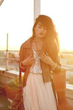 Vintage Sequin Top / Tulle Skirt / Max Azria Nude Wedges & Chain Bracelet / Nordstrom Camel Bag / Milor Bracelet