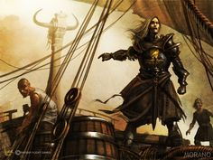 """Balon Greyjoy by Tomasz Jedruszek. """"I dreamt of a man without a face, waiting on a bridge that swayed and swung. On his shoulder perched a drowned crow with seaweed hanging from his wings. Game Of Thrones Houses, Game Of Thrones Art, Medieval, Fire Book, Throne Of Glass, Comic Games, Fantasy Rpg, Fantasy Characters, Fantasy"""