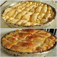 Placinta taraneasca cu branza sarata/ Country-style salty cheese pie Sweets Recipes, Cake Recipes, Cooking Recipes, Desserts, Tapas, Cheese Pies, Romanian Food, Mini Pies, Dessert Drinks