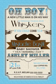 Little Man Baby Shower Invitations - Mustache Bash baby shower Baby Boy