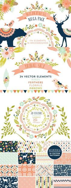 This is a gorgeous collection of rustic floral, tribal and nature themed vector elements combining 4 packs. There are a total of 114 elements and 16 background Photoshop, Vector Pattern, Pattern Design, Creation Art, Web Design, Art Graphique, Grafik Design, Illustrations, Watercolor Flowers