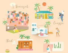 City Guide : Bali on Behance Pink Garden, Blue Art, Bali, Stuff To Do, How To Draw Hands, Tropical, Behance, Kids Rugs, Art Prints
