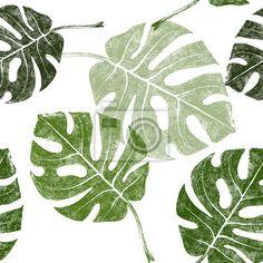 Fototapeta tropikalny, dłoń, liść - tropikalnych liści bez szwu ✓ Szeroki wybór materiałów ✓ 100% Ekologiczny druk ✓ Sprawdź opinie naszych klientów!