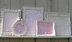 Decorative Ornate Framed Vintage  and Vintage inspired  Magnet Boards-  Set of Five-  Pink- Nursery,  Shabby Chic- playroom- bedroom