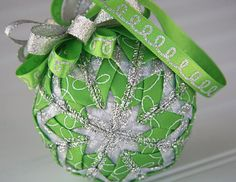 Green and Silver Quilted Christmas Ornament by YouniqueOrnaments, $25.00