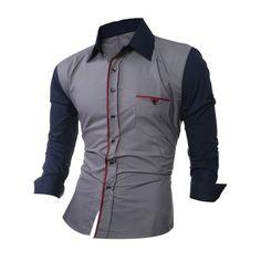 Color de empalme camisa cuello camisa de manga larga - M Gris Oscuro