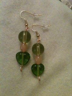 Green heart Earrings by jeannare on Etsy, $7.00