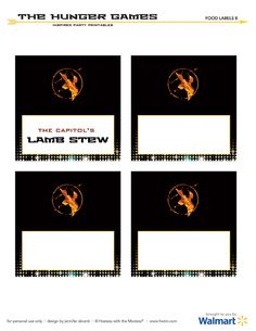 The Hunger Games Party FREE Printables (Black Buffet Labels) @Hostess with the Mostess