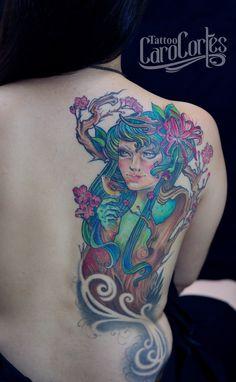 DRYAD - DRIADA CARO CORTES Colombian tattoo artist. carocortes.tumblr.com  www.carocortes.com/  #tattoo #dryad #driada #tatuaje #carocortes  #colombian #tattooartist #femaleartist #tatuadora